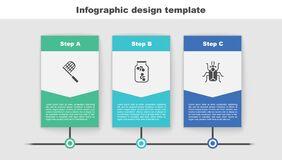 Set Butterfly net, Fireflies bugs in a jar and Beetle. Business infographic template. Vector