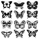 Set of butterfly silhouettes Stock Image