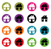 Set button house icons for your design Stock Photos