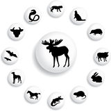 Set buttons - 124_B. Animals. Silhouettes of animals from all parts of the world for your design or business Stock Photo