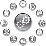 Set buttons - 18_A. Gears. Set of 13 round vector buttons for web