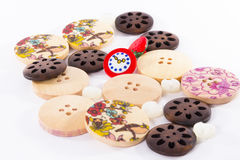 Set of buttons. Wood buttons set with illustration Vector Illustration