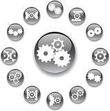Set buttons 31A. Gears Stock Photography