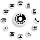 Set buttons - 32_B. Phones. Set of 13 round vector buttons for web royalty free illustration