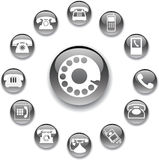 Set buttons 32A. Phones. Set of 13 round vector buttons for web Stock Illustration