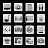 Set of buttons. Black and white on a black background Royalty Free Stock Photos