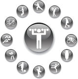 Set buttons - 58_A. Sport. Set of 13 round vector buttons for web Stock Image