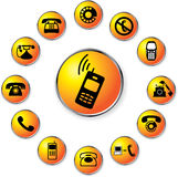 Set buttons - 67_C. Phones. 13 round buttons with phones, mobiles and cellphones Stock Images