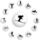 Set buttons - 82_B. Sport. Set pictures of sportsmen, pictographs and atheletic stock Stock Images