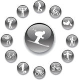 Set buttons - 82_A. Sport. Set pictures of sportsmen, pictographs and atheletic stock Stock Image