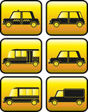 Set of buttons with cars silhouette Royalty Free Stock Photos