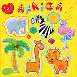 Set of buttons, cartoon animals and word AFRICA -  Stock Image