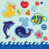 Set of buttons, cartoon animals and word SEA - han Stock Photo