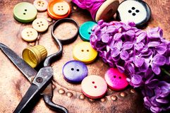 Bright buttons and lilac branch. Set buttons from clothes, threads and scissors.Sewing accessories Stock Photos