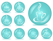 Set of 9 coffee buttons Stock Photos