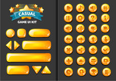 Set of buttons. Collection of glass buttons for mobile development, casual games, ui kit Stock Photos