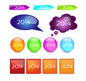 Set - 2014. Set - buttons through 2014, color Royalty Free Illustration