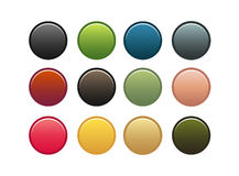 Set of 12 buttons. Set of 12 colorful buttons Royalty Free Stock Image