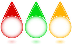 Set buttons in colors of a traffic light Royalty Free Stock Image