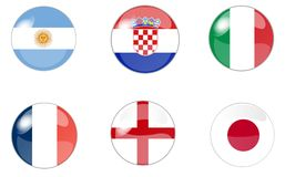 Set of buttons with flag 1 Royalty Free Stock Photo