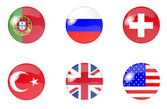 Set of buttons with flag 3 Stock Photography
