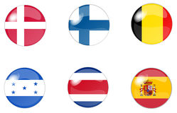 Set of buttons with flag 4. Illustration of a  set of buttons with flag Royalty Free Stock Photo