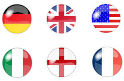Set of buttons with flag 6 Royalty Free Stock Images