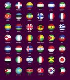 Set of buttons with flags Stock Photography