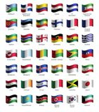 Set of buttons with flags stock illustration