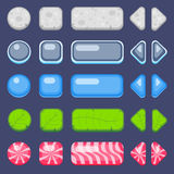 Set of buttons for game. Stone, glass, water, leaf and candy customizable buttons kit royalty free illustration