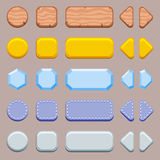 Set of buttons for game. Wooden, golden, silver, crystal and denim customizable buttons kit stock illustration