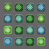 Set of buttons. In green and blue colors on a gray background Royalty Free Stock Photos