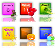 Set buttons with Holidays Stock Photography