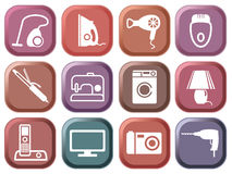 Set of buttons home appliances. Multi-coloured buttons. Set of icons home appliances Stock Photography