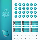 Set of buttons and icons Stock Image