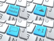 Set of Buttons on Keyboard. Social Media Concept Stock Photos