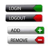 Set of buttons - login, logout, add, remove Stock Photos