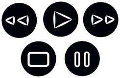 Set buttons media noir stylus. This is a button's set media, for you app media or music or page web Stock Photos
