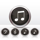 Set buttons with music note icon. Stock Photos