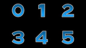 Set of Buttons, Numbers, Seamless Loop. Fullhd 1920x1080 Progressive Seamlessly Looping Video, Numbers, Stylized Glowing Glass Blue Buttons. Christmas Elements stock video footage