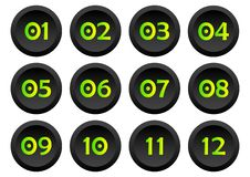 Set of buttons with numbers from 01 to 12. Vector vector illustration