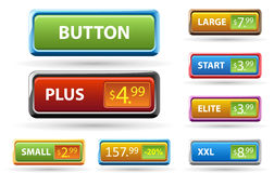 Set of buttons and price tags. Stock Images