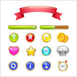 Set of buttons, progress bars, ribbon and icons for web design a Stock Photo