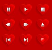 Set of buttons for romantic media player Royalty Free Stock Images