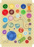 A set of buttons and sewing supplies. Vector illustration. Set of multicolored buttons, needles, pins, thread and thimble. Best suited for decoupage, wrapping Stock Photos