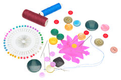 Set of buttons and sewing supplies Royalty Free Stock Images