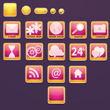 Set of buttons with social icons Royalty Free Stock Images