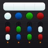 Set of buttons and switches in different colors. Set of buttons and switches Royalty Free Stock Photography