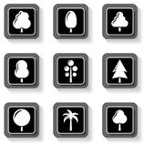 Set buttons with tree Stock Images