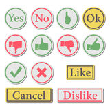 Set of buttons, vector illustration. Stock Photos